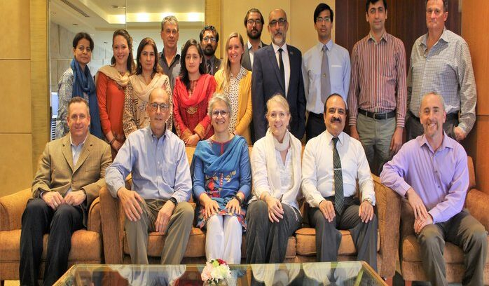 Group Photo during Pakistan Biological Safety Association- Fogarty International Center at NIH, USA strategic meeting at Bangkok, Thailand on January 31st - February 3rd, 2018.  Sitting (L to R):  Mr.Sean G. Kaufman, Dr. Roger Glass, Dr. Zeba Rasmussen, Ms. Stacey Knobler, Dr. Aamer Ikram, Dr. David Spiro,  Standing Front (L to R):  Dr. erum khan, Ms. Alexandra Jamison, Dr. Uzma Bashir, Dr. Arshia Amin, Ms. Chelsa Hansen, Dr. Shamsul Arfin Qasmi, PhD. IFBA certified , Mr. Sharoz Amin, Dr. Ali Ahmed Sheikh, MrTim Trevan,  Standing Back (L to R):   Philippe Stroot, Javed Muhammad, Furqan Ahmed,